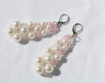 Pearl and Pink  Drop Earrings  Silver Tone  Handmade