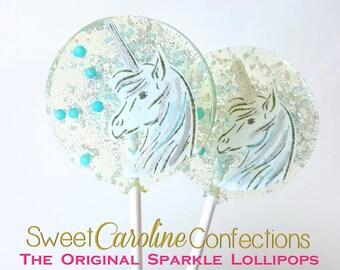 Unicorn Lollipops, Light Blue and Silver Lollipops, Unicorn Party, Birthday Gift, Sparkle Lollipops, Sweet Caroline Confections -6/Set