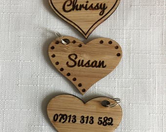 Personalised Wooden Heart Key Ring - Wooden Keychain - Gift - Gift Tag - Book Bag Tag - Back To School Name Tag - Name Lable