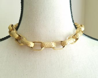Edwin Pearl Chunky Goldtone  Necklace Choker Hammered Links Matte Gold Vintage Jewelry Designer Signed Tagged Sophisticated Statement