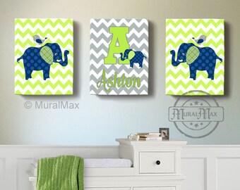 Navy and Lime Elephant Nursery Wall Art - Elephant Nursery Decor - Canvas Art - Baby Boy Room Decor - Match Modern Elephant Nursery Bedding