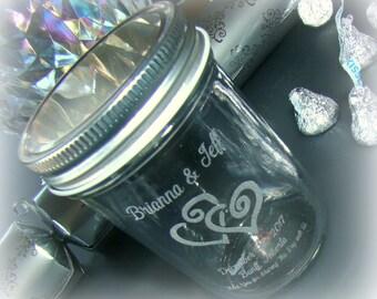 24 Quantity Custom Etched Printed Personalized Glass Mini Mason Jar Wedding Favor