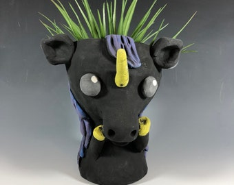 Black Unicorn // Succulent Pot // Mystical Planter  // Adorable Small Sculpture  // Magical Horse  // Home Decor // Pothead // Handmade