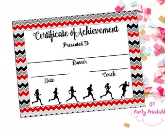 instant download cross country certificate track and field running certificate jog a thon printable running achievement