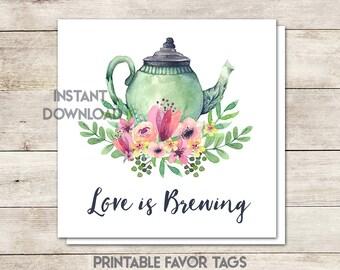 Bridal Shower Favor Tags, Love Is Brewing, Tea Party Bridal Shower, Wedding Favor Tags, Tea Party Theme, Wedding Shower, Printable No. 1018