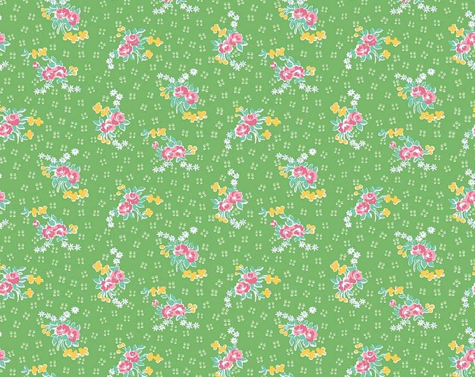 Mae Flowers Fabric by Lindsay Wilkes from The Cottage Mama for Riley Blake Designs and Penny Rose Fabrics - Green Floral