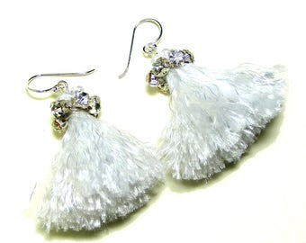 White Tassel Earrings, Bridal Tassel Earrings, Boho Earrings, Boho Wedding Jewelry, Tassel Rhinestone Earrings, Bridesmaid Tassel Earrings