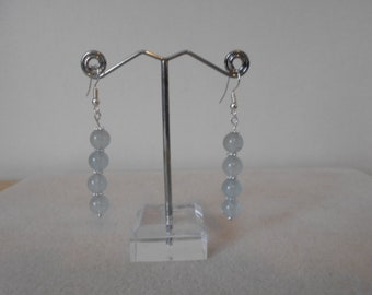 Silver plated Aquamarine Drop Earrings