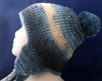 Ear Flap Beanie, Snowy Hat, Laplander, Chullo Hat, Warm Ski Cap, Handmade Pom Pom Winter Wear, Hand Crafted Knit Beanie, Blue Soft Warm Hat