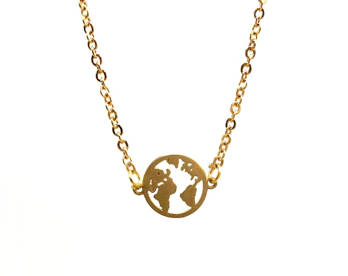 SMALL WORLD: delicate gold globe necklace