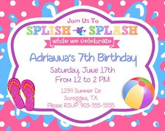 Splish N Splash - Girl's Party Invitation (Digital File)