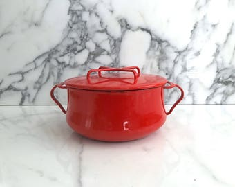 Vintage Mid Century Modern Dansk Kobenstyle Red Enameled Pot with Lid 1970s Classic Enamelware Jens Quistgaard Design France