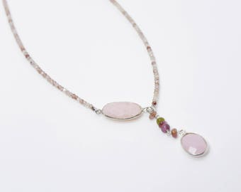 GEMSTONE NECKLACE opal and Strawberry Quartz gemstone necklace quartz nacklace Opal Necklace