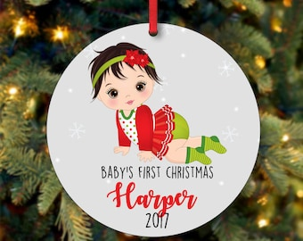 Baby's Girl First Christmas Ornament, Personalized Christmas Ornament, Custom Ornament, Black Hair Baby Girl Christmas Ornament (0069)