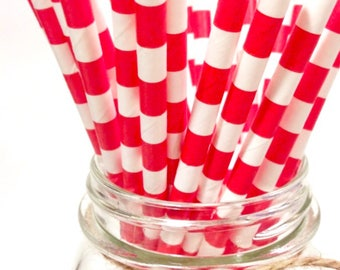 25 Red Stripes paper straws // baby bridal shower decorations // candy dessert buffet table // wedding // First birthday/new year party