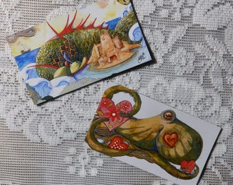 Octopus Magnet, sea monsters, two magnet set, ocean magnets, sea creatures