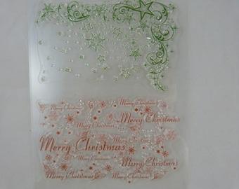 Stamp set transparent Christmas pattern, merry christmas