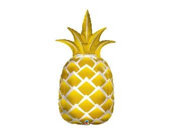 """Gold Pineapple Balloon, 44"""" Pineapple Balloon, Flamingo Party Balloon, Tropical Party Balloon, Tutti Frutti Party, Summer Wedding Balloon"""