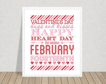 Valentines Day Decor Valentines Art Valentines Print Digital Valentines Printable Valentines Day Decor Wall Hanging Poster Typography Print