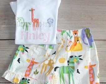 Safari Animals Tshirt & Matching Bottoms, Personalized Zoo Animals Bottoms and Shirt, Safari Animals Stitch Shirt