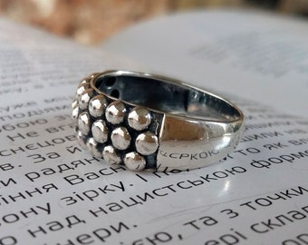 Sterling Silver Caviar Ring Statement Ring Fashion Ring Granulation volume ring Silver bubbles cast ring Minimalist Jewelry with meaning