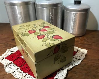 Strawberry Tole Painted Metal Recipe File Box - Industrial Office Card Cabinet - Address - Vintage Storage - Vintage Farmhouse Decor - Gift