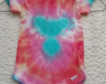 Colorful Teal. Fuschia and Orange Bullseye Tie-Dye Baby Onesie Size 3 - 9 Months