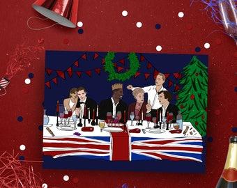 British Celebrity Christmas Card, Dinner Party Xmas card, Pop culture card