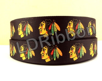 "7/8"" Blackhawk Inspired Grograin Ribbon"