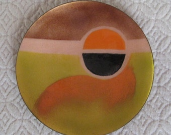Enamel on Copper Dish, Sunset, Geometric Design, Vintage, Mid Century, Modern