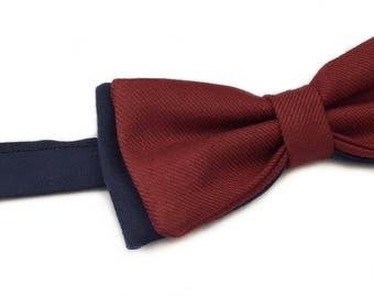Bow tie Burgundy and blue - preattache bowtie - two-tone bowtie