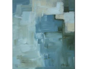 Art giclee print by Victoria Kloch modern abstract original neutrals, blue, green and buttery yellow wall art