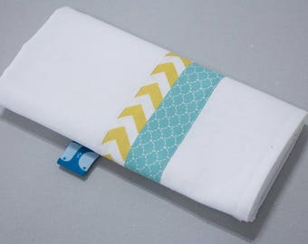 """Small Swaddle """"Calf"""" - blue scales & yellow zigzag"""