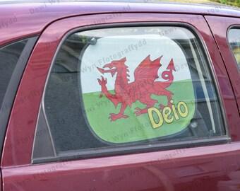 Cysgodwr Haul Car - Fflag Cymru - Draig Coch - Cymru - Wales - Unrhyw enw/lleoliad/gair - Plant - Babi - Cymraeg