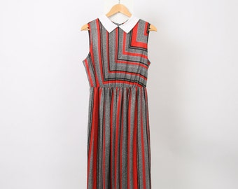 80s Vintage Womens AU 12 US 8 White Collar Stripe Red Black Geometric Button Up Polyester Made in Usa Elastic Waist Dress