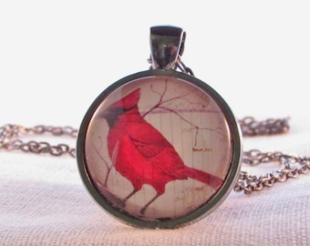 Pendant Necklace - Red Bird - Cardinal Necklace - Statement Necklace - Bird Pendant Necklace - Gift for Woman - Gift for Mom - Teacher Gift