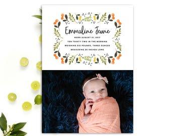 Photo Baby Announcement // Birth Announcement Baby Girl // Girl Birth Announcement Cards // Printable Birth Announcement // The Emmaline