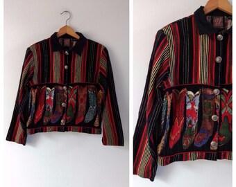 Vintage Western jacket with cowboy boots, Indian cotton Jacket, medium