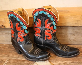 Vintage Nacona Cowboy Boots, 1940's Colorful Inlay US mens size 8.5 Womens 10, Red, Turquoise