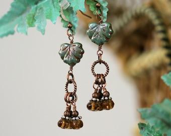 Green Leaf Earrings, Autumn Jewelry, Autumn Earrings, Green and Brown Dangle Earrings, Czech Glass Earrings, Copper Earrings