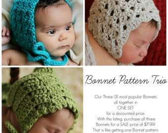 Crochet PATTERNS Baby Child BONNET Sale 3  in 1 Bonnet Pattern Trio