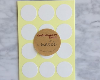 Kraft White Paper Seal Stickers - 3cm round Label Sticker Seals - 72 Blank Seals