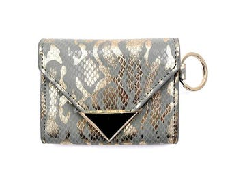 Wallet Keychain- Snake Print- Card Holder- Wallet- Keychain- Designer- Gifts- Card Case- Coin Purse- Envelope- Card Wallet- Vegan Leather