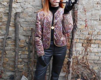Vintage Blazer 80s / Velvet / Gold Trim / Baroque / Colorful / Plush / Unique / Chic / Paisley / Blazer Jacket / Tapestry / Retro Fashion