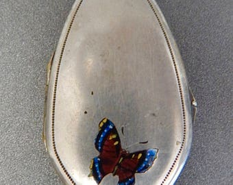 German Alpaca Silver Champlevé Enamel, Butterfly Locket