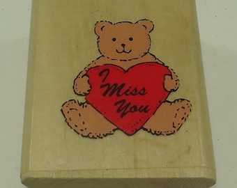 Miss You Teddy Bear Wood Mounted Rubber Stamp From Noteworthy, Heart