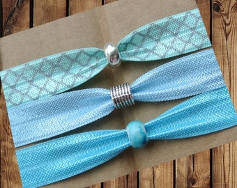 Beaded Hair Ties/Elastics No Crease Mint and Grey Trefoil, Light Blue, Turquoise