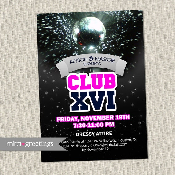 Disco Club Invite Or Sweet 16 Birthday Party Invitation