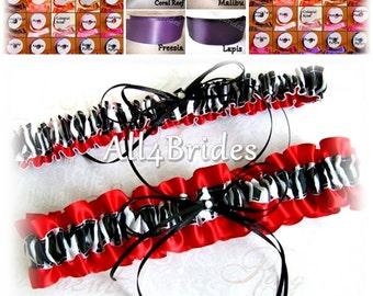 Zebra wedding bridal garter set, custom colors, lapis, malibu, watermelon, hot pink, red and more
