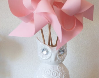 Adorable Pinwheels! Wedding Favors Decor Birthday Favors - 6 Large Paper Pinwheels (Custom order welcomed)